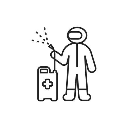 Worker in protective suit with disinfector sprayer black line icon. Protect from viruses. Cleaning service. Pictogram for web, mobile app, promo. UI UX design element. Ilustração