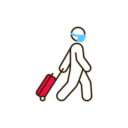 Tourist with luggage color line icon. Safe travel. Pictogram for web, mobile app, promo. UI UX design element