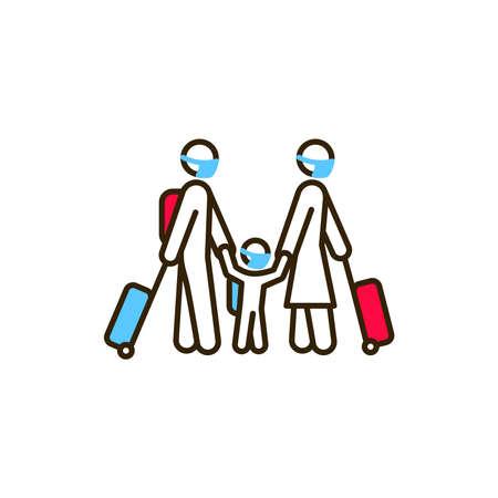 Family with luggage color line icon. Safe travel. Pictogram for web, mobile app, promo. UI UX design element Ilustração
