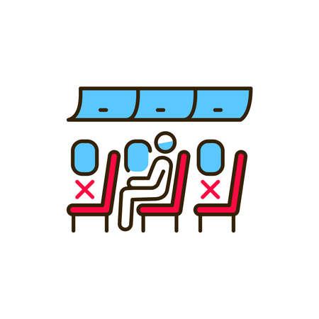 Passenger inside plane color line icon. Safe travel. Pictogram for web, mobile app, promo. UI UX design element