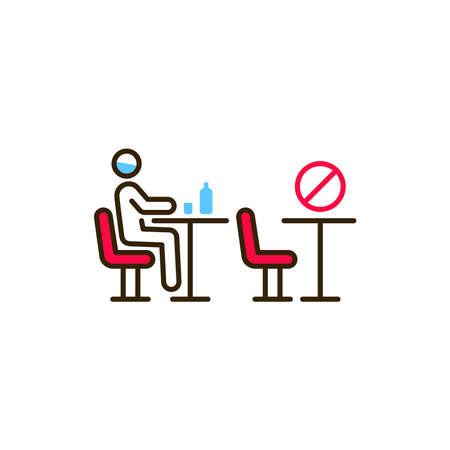 Man sitting in cafe color line icon. Safe travel. Pictogram for web, mobile app, promo. UI UX design element