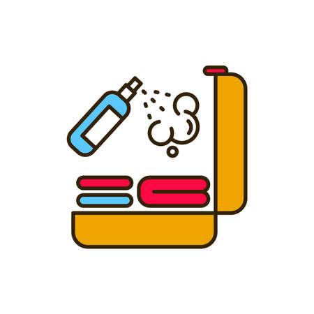 Luggage disinfection color line icon. Safe travel. Pictogram for web, mobile app, promo. UI UX design element