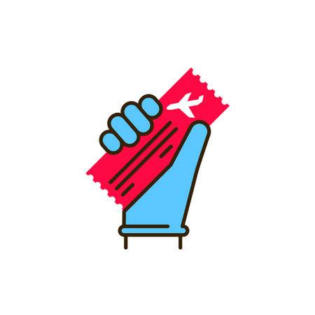 Hand in a glove holds a ticket color line icon. Safe travel. Pictogram for web, mobile app, promo. UI UX design element Ilustração