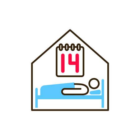 Self-isolation person color line icon. Safe travel. Pictogram for web, mobile app, promo. UI UX design element Ilustração