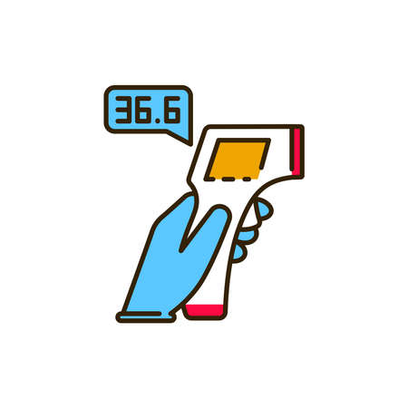 Infrared thermometer measures temperature color line icon. Safe travel. Pictogram for web, mobile app, promo. UI UX design element.