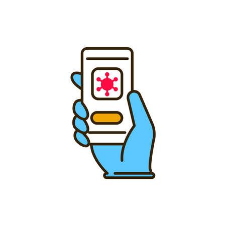 Covid disease app color line icon. Safe travel. Pictogram for web, mobile app, promo. UI UX design element