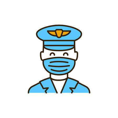 Masked pilot color line icon. Safe travel. Pictogram for web, mobile app, promo. UI UX design element