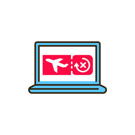 E-voucher in laptop color line icon. Safe travel. Pictogram for web, mobile app, promo. UI UX design element