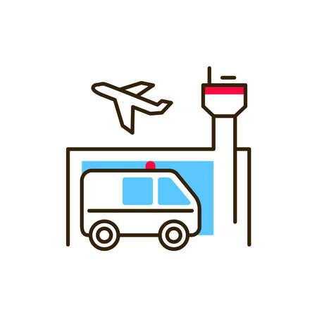 Emergency assistance at airport color line icon. Safe travel. Pictogram for web, mobile app, promo. UI UX design element