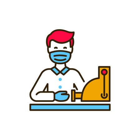 Masked cashier in shop color line icon. Safe travel. Pictogram for web, mobile app, promo. UI UX design element Ilustração