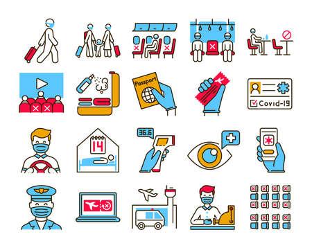 Safe travel and service color line icons set. Pictogram for web, mobile app, promo. UI UX design element
