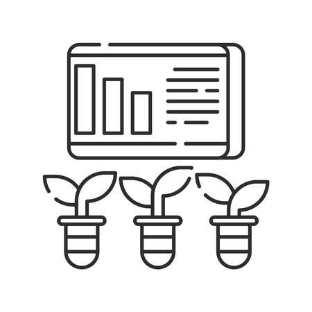 Plant management black line icon. Smart farm. Sign for web page, app. UI UX GUI design element. Editable stroke Ilustração