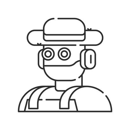 Futuristic robot farmer to increase efficiency. Agricultural IOT. Smart farming black linear icon. Sign for web page, app. UI UX GUI design element. Editable stroke. Pixel Perfect.