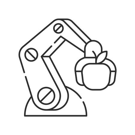 Smart robotic farmers analyze the growth and harvesting plants. Futuristic robot arm automation to increase efficiency black line icon. Agricultural IOT. Editable stroke. Pixel Perfect