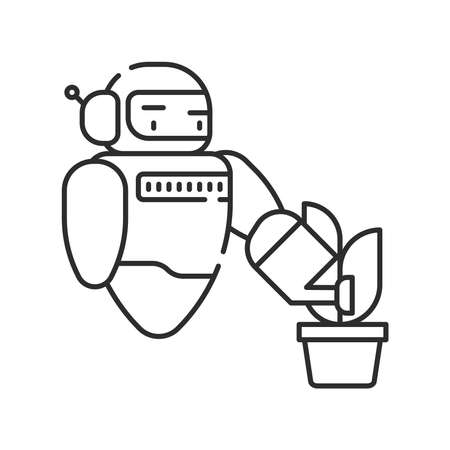 Futuristic robot automation to increase efficiency black line icon. Checking plants. Agricultural IOT. Sign for web page, app. UI UX GUI design element. Editable stroke. Pixel Perfect