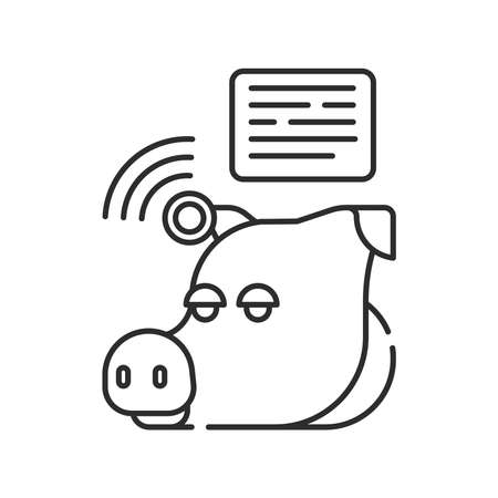 System monitoring the piggy with help of sensors. Smart farming black linear icon. Checking. Animal husbandry. Agricultural IOT. Sign for web page, app. UI UX GUI design element. Editable stroke.