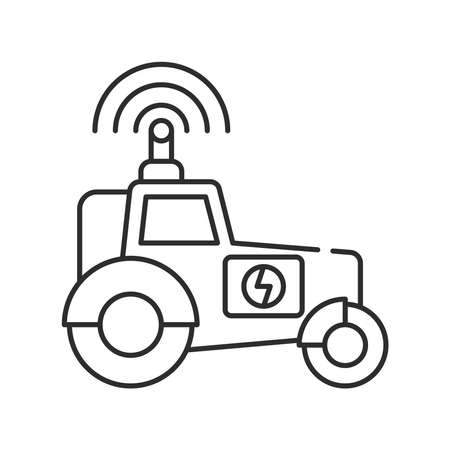 Farming tractor black line icon. Smart farming. Heavy agricultural machinery for field work. Agriculture vehicle. Sign for web page, app. UI UX GUI design element. Editable stroke. Pixel Perfect