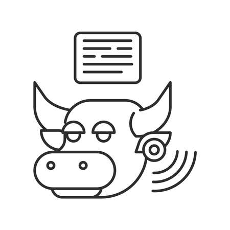 System monitoring the bull with help of sensors. Smart farming black linear icon. Checking. Animal husbandry. Agricultural IOT. Sign for web page, app. UI UX GUI design element. Editable stroke.