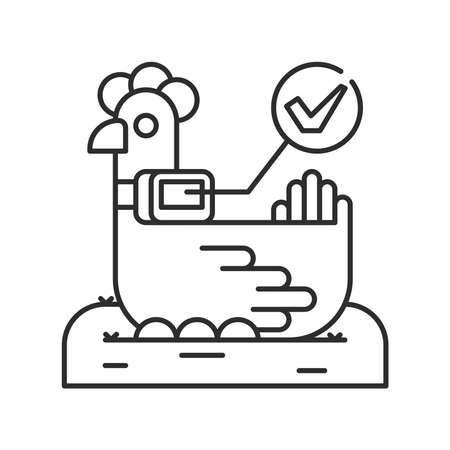 System monitoring the chicken, hen with help of sensors. Smart farming black linear icon. Checking. Animal husbandry. Agricultural IOT. Sign for web page, app. UI UX GUI design element.Editable stroke. Ilustração