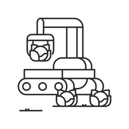 Smart robotic farmers analyze the growth and harvesting plants. black line icon. Smart farming. Sign for web page, app. UI UX GUI design element. Editable stroke. Pixel Perfect. Ilustração