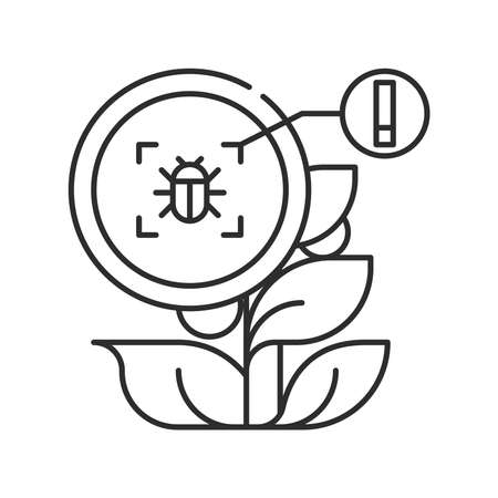System monitoring the crop field with the help of sensors. Insect, parasite in tomato. Smart farming black linear icon. Sign for web page, app. UI UX GUI design element. Editable stroke. Pixel Perfect. Ilustração