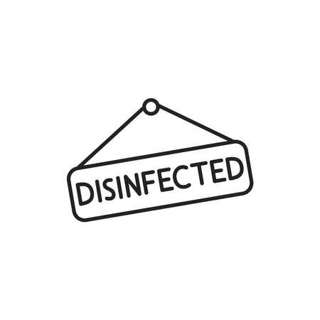 Nameplate disinfected black line icon. Cleaning service. Pictogram for web, mobile app, promo. UI UX design element Ilustração