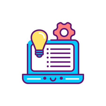 Development concept event line color icon. Event management. Sign for web page, mobile app, button. Vector isolated element. Editable stroke.