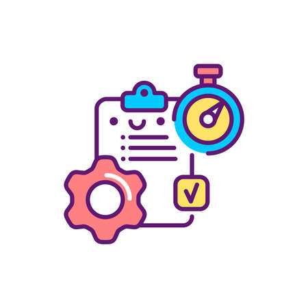 Workflow control line color icon. Event management. Sign for web page, mobile app, button. Vector isolated element. Editable stroke. 일러스트