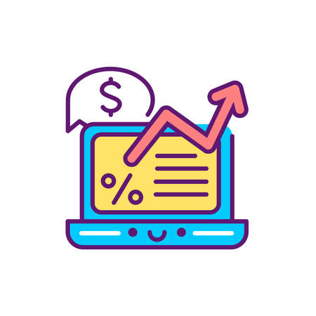 Financial report line color icon. Event management. Sign for web page, mobile app, button. Vector isolated element. Editable stroke.