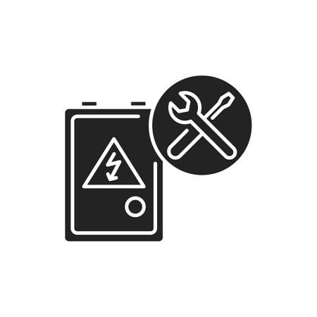 Electrical service black glyph icon. Includes the installation, servicing, repair and maintenance of electrical and electronic equipment. Handyman services 版權商用圖片 - 152280233