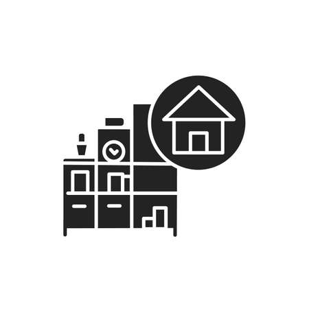 Home decorating black glyph icon. Process of design. Includes painting, furniture and accessories. Handyman services. Pictogram for web page, mobile app, promo. UI UX GUI design element