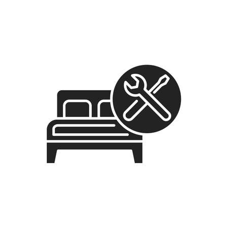 Furniture Assembly black glyph icon. Handyman services. Pictogram for web page, mobile app, promo. UI UX GUI design element.