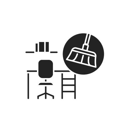 Office Cleaning black glyph icon. Includes dusting, vacuuming, washing down, mopping and sweeping the office area. Handyman services. Pictogram for web page, mobile app, promo 版權商用圖片 - 152280511