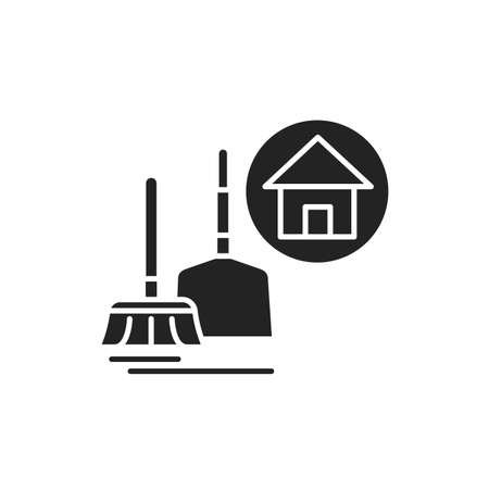 House Cleaning black glyph icon. Handyman service. Disposing of rubbish, cleaning dirty surfaces, dusting and vacuuming. Pictogram for web page, mobile app, promo.