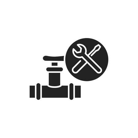 Plumbing Service black glyph icon. Installation done to a potable water distribution system. Handyman services. Pictogram for web page, mobile app, promo. UI UX GUI design element 向量圖像