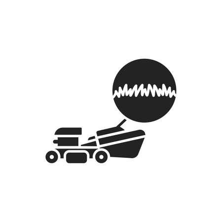Lawn Mowing and Trimming black glyph icon. Cutting the grass in the right area. Handyman services. Pictogram for web page, mobile app, promo. UI UX GUI design element