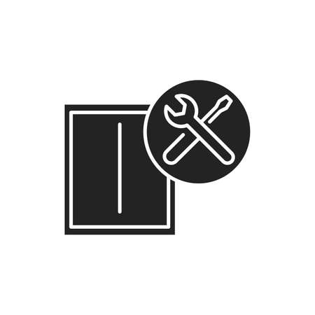 Window installation black glyph icon. Setting the window and window's sill into the opening. Handyman services. Pictogram for web page, mobile app, promo. UI UX GUI design element.