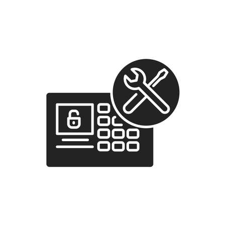 Smart Device Installation black glyph icon. Home automation. Installation electronic devices. Handyman services. Pictogram for web page, mobile app, promo. UI UX GUI design element. 版權商用圖片 - 152280475
