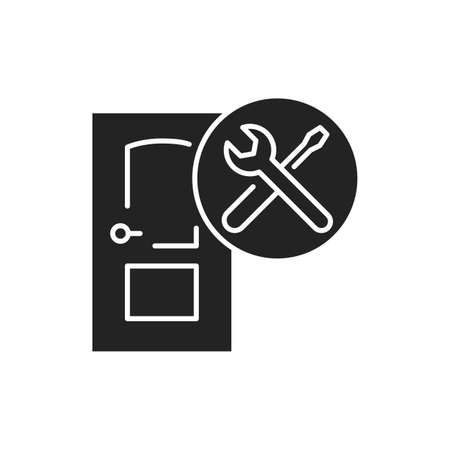 Door installation black glyph icon. Installation of doors in openings. Process of repair. Handyman services. Pictogram for web page, mobile app, promo. UI UX GUI design element