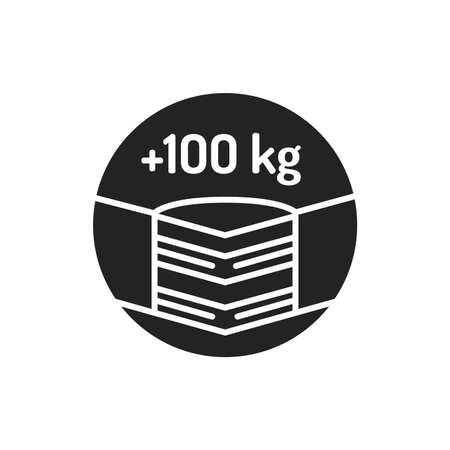 Maximum weight limit up to 100 kg black glyph icon. Weight-limited mattress. Pictogram for web page, mobile app, promo. UI UX GUI design element
