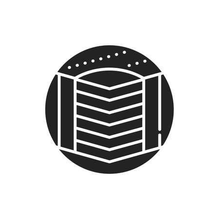 Hard bed mattress black glyph icon. Provide excellent support. Fix the vertebrae in the correct position. Pictogram for web page, mobile app, promo. UI UX GUI design element. 向量圖像