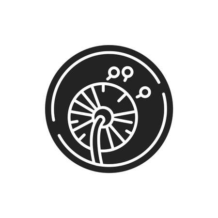 Hypoallergenic material black glyph icon. Mattress cover. Product won't trigger allergies. Pictogram for web page, mobile app, promo. UI UX GUI design element