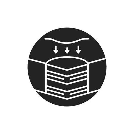 Memory foam bed mattress black glyph icon. Changes shape when pressure is applied. Pictogram for web page, mobile app, promo. UI UX GUI design element