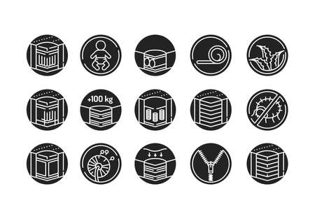 Mattress linear icons set black glyph icon. Different types of mattresses. Pictogram for web page, mobile app, promo. UI UX GUI design element 版權商用圖片 - 152287476