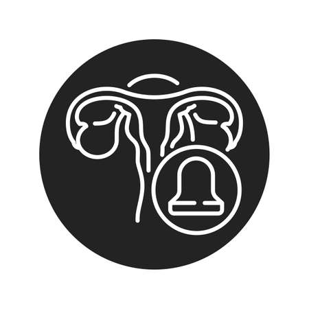 Cervical cap black glyph icon. Uterus and contraceptive method. Birth control. Safety sex sign. Pictogram for web page, mobile app. UI UX GUI design element. 版權商用圖片 - 152424089