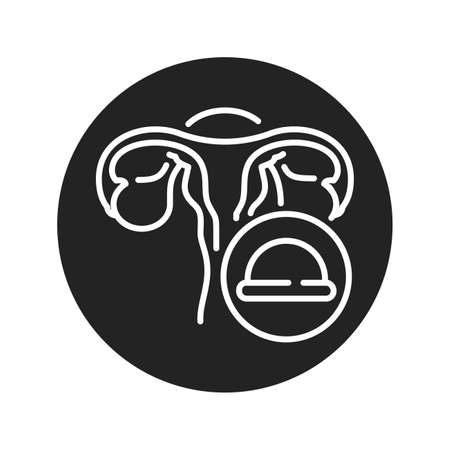 Cervical diaphragm black glyph icon. Uterus and contraceptive method. Birth control. Safety sex sign. Pictogram for web page, mobile app. UI UX GUI design element.