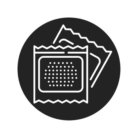 Contraceptive patch black glyph icon. Women hormonal contraceptive, birth control. Safety sex sign. Pictogram for web page, mobile app. UI UX GUI design element.
