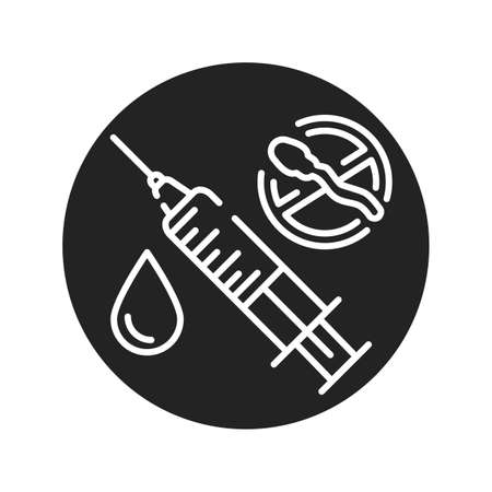 Contraception method injection black glyph icon. Women hormonal contraceptive, birth control. Safety sex sign. Pictogram for web page, mobile app.
