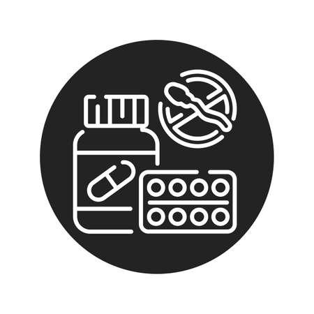 Oral contraceptive medicine in a jar black glyph icon. Women contraceptive hormonal birth control pills. Safety sex sign. Pictogram for web page, mobile app. UI UX GUI design element.