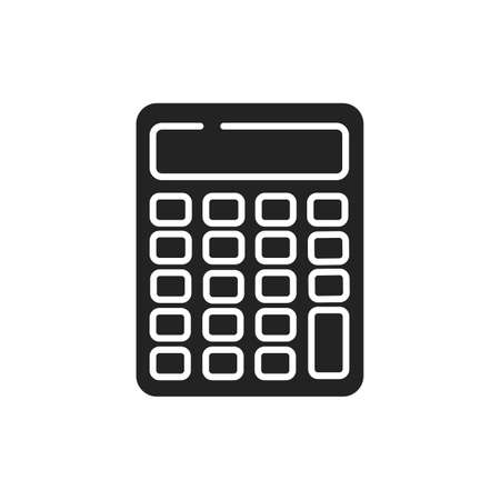 Calculator black glyph icon. Bookkeeping concept. Electronic portable device. Sign for web page, mobile app, banner, social media. 向量圖像